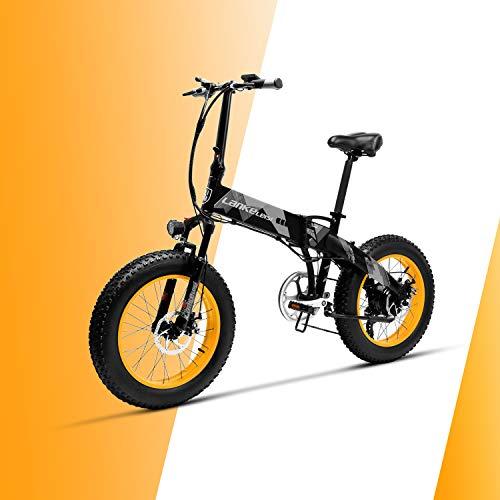 LANKELEISI X2000 48V 500W 10.4AH 20 x 4.0 Pollici Fat Tire 7 velocità Shimano Shifting Lever Bici elettrica Pieghevole, per Adulti Femmina/Maschio per Mountain Bike Bici da Neve (Giallo)