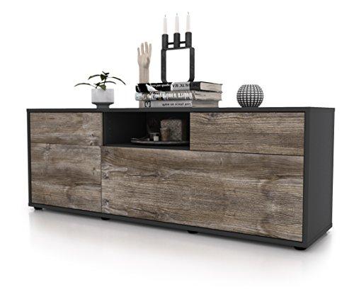 Stil.Zeit Möbel TV Schrank Lowboard Anita, Korpus in Anthrazit Matt/Front im Holz-Design Treibholz (135x49x35cm), mit Push-to-Open Technik und Hochwertigen Leichtlaufschienen, Made in Germany