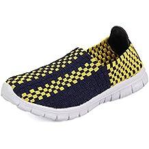 sports shoes b6dc2 bd382 QANSI Zapatos Deportivos Zapatillas Ligeras Mocasines Tejidos Multicolores  Zapatillas Transpirables para Caminar Zapatos sin Cordones