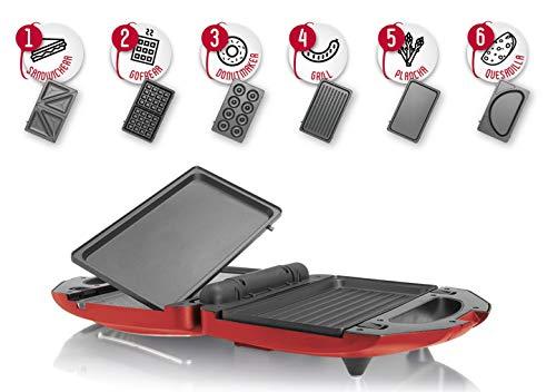 MyWave Sandwichera 6 En 1 De Acero Inoxidable, Placas Desmontables Antiadherentes e Intercambiables, Potencia De 750W, Color Rojo