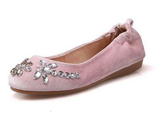 AllhqFashion Femme Tire à Talon Bas Suédé Mosaïque Rond Chaussures à Plat Rose