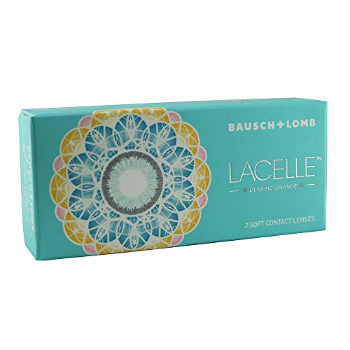 Contact lens Bausch & Lomb Lacelle Classic Grande 2 Tone Monthly Disposable Blue Color Lens Plano (0) By HOPL