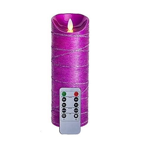 8,1x 22,9cm Violet Paillettes Bougies sans flamme vacillante