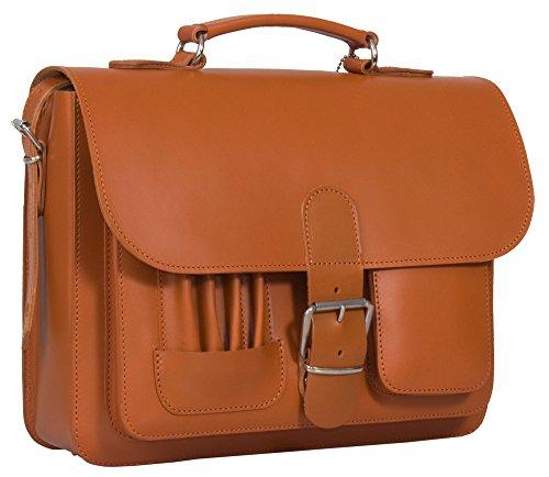 Schultasche Messenger Tasche Umhängetasche Hellbraun Leder Pflanzlich Gegerbt (Messenger Bag Eco-friendly)