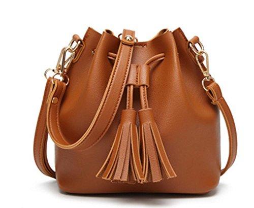 ZXH koreanische Quaste kleine Tasche lässig tragbaren Schulter Messenger Bag , A (Plaid Bag Schwarz Messenger)