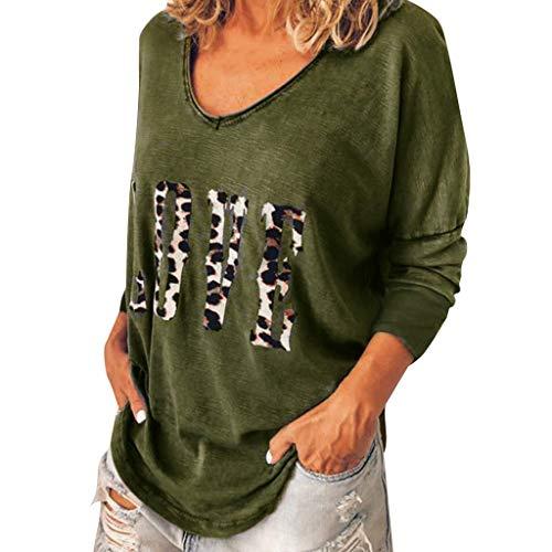 sig Mode T-Shirt Frühling Herbst Frauen Langarm Bequem Blusen Casual Print Lange Ärmel Unregelmäßige Tops Shirts ()