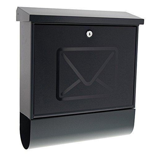 BURG-WÄCHTER Briefkasten mit integriertem Zeitungsfach und transluzenter Tür, EU Norm EN 13724, Inkl. 2 Schlüssel, Verzinktes Stahlblech, Lucenta 2701 ANT, Anthrazit