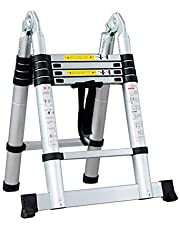 Lukzer Multifunction Aluminium Telescopic Ladder 1.6m / 5.2 ft – Portable Extension Folding Ladder for Home, Outdoor Purpose 49 x 16 x 82 cm