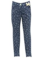 M&Co Girls Floral Print Skinny Jeans With Bow Detail Denim 3/4 Yr