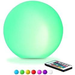 KEEDA - Lámpara LED en forma de esfera para piscinas y exteriores, flotante, para iluminación nocturna, luz que cambia de color, funcionamiento con mando a distancia, 16modos de iluminación Φ12CM