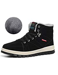 Winter Snow Boots Warm Mens Womens Leather Cosy Waterproof Boots Fully Fur Lined Walking Hiking Lace Up Boot Anti Slip