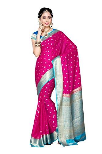 Mimosa Women's Traditional Crepe Silk Saree Kanjivaram Style With Blouse Color:Rani(3312-2087-RNI-ANDA )  available at amazon for Rs.1699