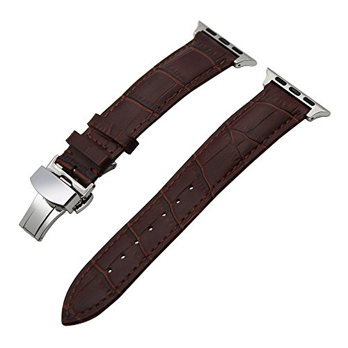 TRUMiRR 42mm Apple Uhrenarmband, 1. Schicht Rindsleder echtes Lederband mit Schmetterlingsschnalle und Schnellwechseladapter für iWatch 42mm Serie 1 & 2 (keine weiteren Schrauben) (Braun Leder Kalb)