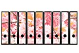 Set mit 9 Stück traumhaften breiten Ordner-Etiketten selbstklebend Ordnerrücken Sticker (Aufkleber) zarte rosa Blüten Kirschblüten