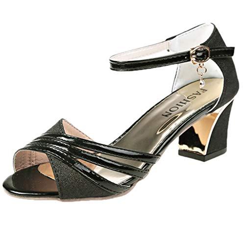 YEARNLY Damen Tanzschuhe Pumps Latin Schuhe Gesellschaftstanz Schuhe hochhackig Pailletten Sexy Silber, Schwarz, Gold 35-40 (Michael Kors Baby-kleidung)