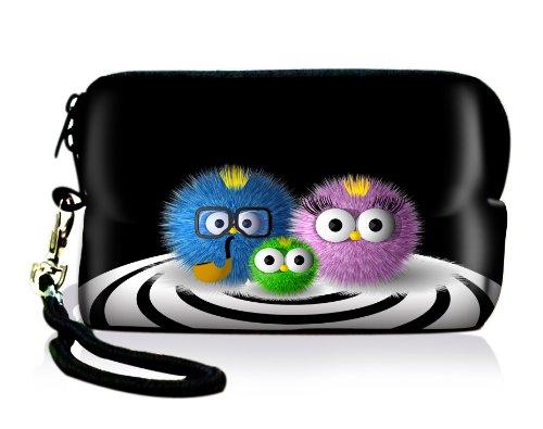 Luxburg® Design Universal Kameratasche Hülle Sleeve Case für kompakte Digitalkamera, Motiv: putzige Familie