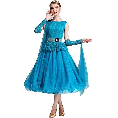 OOARGE Frauen Modern Waltz Tango Tanzen Kleidung Ballroom Tanz Röcke , blue , (Flapper Mädchen Kostüm Tanz)