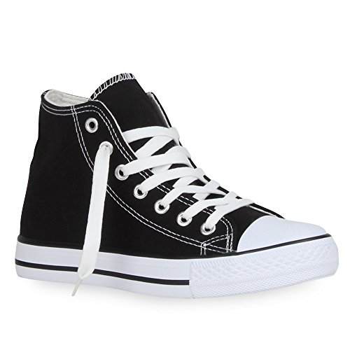 Damen Sneakers Muster Camouflage Damen Glitzer Turn Sneaker High Schuhe 57563 Schwarz 38 | Flandell®