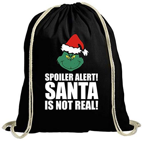 ShirtStreet Geschenk für Weihnachtsmuffel natur Turnbeutel Rucksack Gymsac Spoiler Alert Santa, Größe: onesize,schwarz natur -
