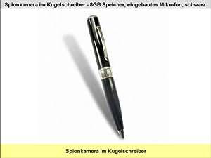 Spionkamera im Kugelschreiber - 8GB Speicher, AVI,eingebautes Mikrofon, USB 2.0, schwarz