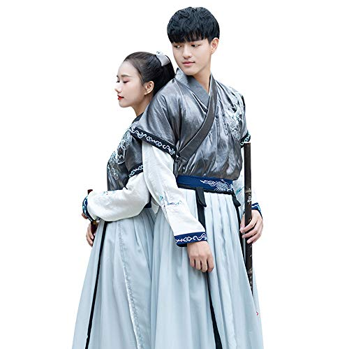 WJX Paar tragen Valentinstag für Männer und Frauen, Chinese Style Clothes, Tang Suit Printing National Traditional Retro Hanfu Long Sleeve Cosplay Performances Kostüm,S