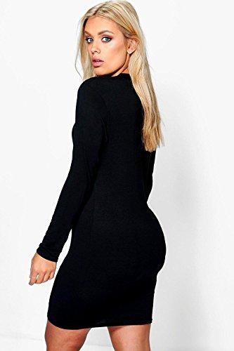 Kaki Femme Plus Natalie Robe Moulante Basique À Détail Ras Du Cou Kaki