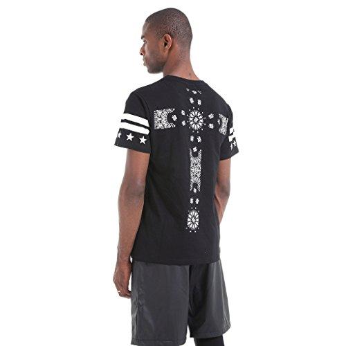 Pizoff Unisex Hip Hop Kurz schwarz T Shirt mit Ziffer Druckmuster Metall Stern Y0679