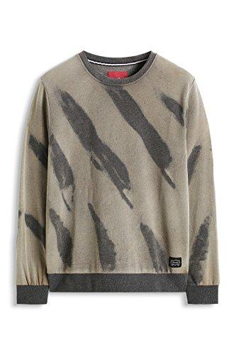 edc by ESPRIT Herren Slim Fit Sweatshirt mit All Over Print Grau (GREY 030)