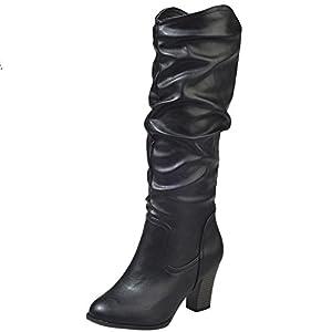 Stiefel Damen Boots Leder Boots Frauen Winter Plüsch Stiefel High Heel  Combat Boots Wild Outdoor Freizeitschuhe Party Mittel Stiefeletten ABsoar 6c0731c313