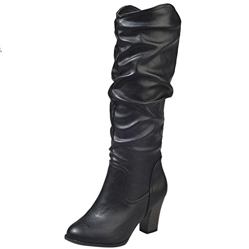 Stiefel Damen Boots Leder Boots Frauen Winter Plüsch Stiefel High Heel Combat Boots Wild Outdoor Freizeitschuhe Party Mittel Stiefeletten ABsoar