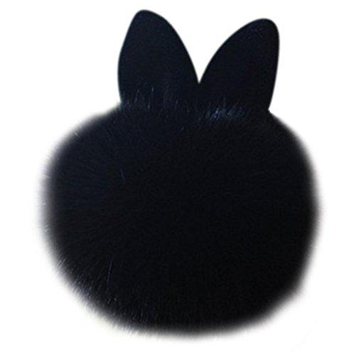 Koly_Pelliccia del coniglio sfera Portachiavi Borsa Peluche Portachiavi auto (Nero)