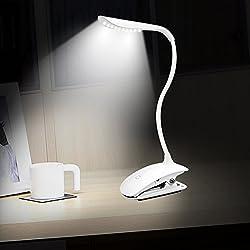 Lámpara LED de Mesa,LEVIN Escritorios Flexo Con Pinza, Cuidado de los Ojos Luz Lectura,Con USB Recargable para Habitación,Dormitorio,etc. (Blanco)