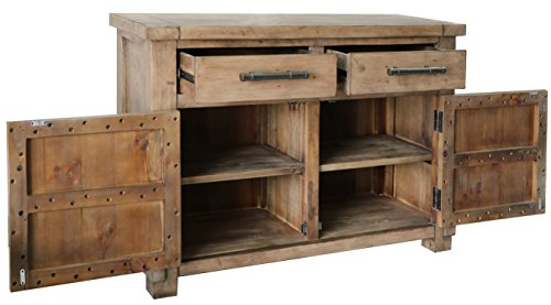 The Wood Times Kommode Schrank Vintage Look Massiv Industrial Kiefer FSC Recycled, BxHxT 120x85x45 cm - 4
