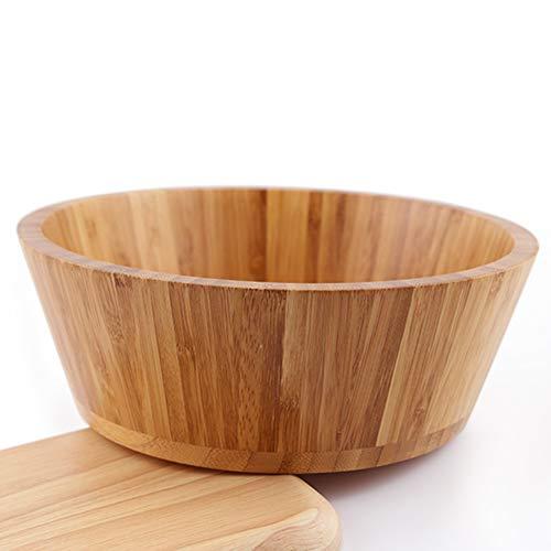 Cuenco de madera para ensalada, ecológico, grande, para servir frutas, verduras, recipiente de cocina fácil de limpiar Tamaño libre As Shown