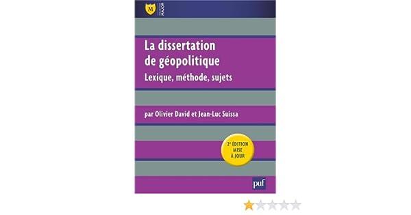 dissertation geopolitique puf
