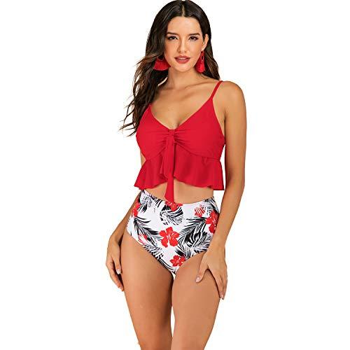 Gotimal Damen Badeanzug Rüschen zweitailig Push Up Bademode Bikini Set und Hohe Taill Bikinihose Bauchweg Rot S (High Waisted Süße Bikini)