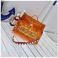 Bolso Clutch Bolso Transparente Bolso Crossbody Transparente Bolso Transparente Bolso Candy Jelly con Mango Organizador PVC Fácil Limpio (Naranja)
