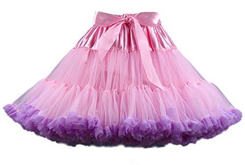 Ballettrock Kinder Mädchen Damen Tutu Rock Schleife Pettiskirt für Show Party Cosplay Rosa und Violett One Size (Adult Cosplay Pics)