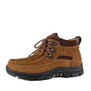 Hombres zapatos vestido escalar montañas otoño aire libre [fondo blando] botas resbalón encendido negro-marrón-A Longitud del pie=38EU