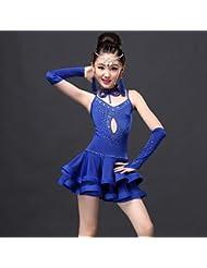 DESY Robes(Fuchsia / Vert / Bleu Royal,Elasthanne / Dentelle / Viscose,Danse latine)Danse latine- pourEnfant Au drapée Spectacle Danse latine , l