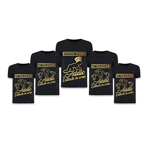 Altra marca pacchetto t-shirt magliette da uomo personalizzate per addii al celibato addio al celibato in corso (pacchetto 12+1, nero)