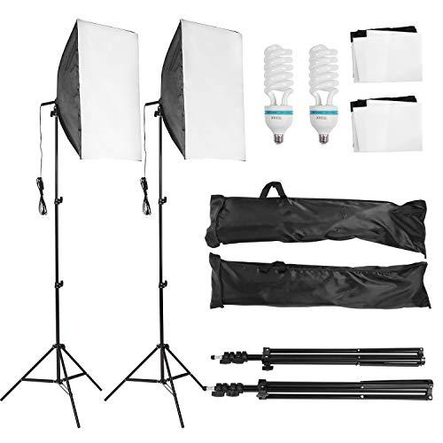 MVPower Softbox Fotolampe Studioset mit Höhestellbare Lampenstativ 50 x 70 cm, 135W Set-2 für Fotostudio, Produktfotografie und...