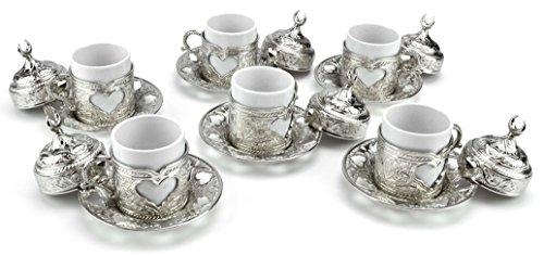 Türkisches Kaffeeservice Kaffeeset Mokkaservice Sena Kahve Seti Mokka Service Mokkatassen Silber Set 12tlg.