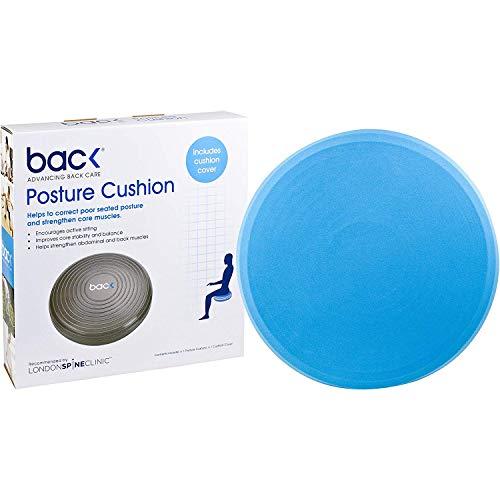 RÜCKEN Haltungskissen (mit Kissenhülle) |Training zur Verbesserung der Rumpfstabilität | Wackel Gleichgewichtskissen | Rückenschmerzen vermindern (Blau)