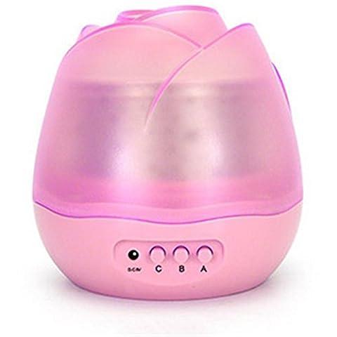 Lumières LED Quatre diapositives Lampe de projecteur Star Tourner Fleurs Coloré Rose Veilleuse Gift Girlfriend , Pink