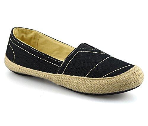 Mootsies Tootsies Ladies Womens Flat Slip on Canvas Pumps Plimsolls Trainers Espadrilles Shoe Size[UK 4.5,Black]