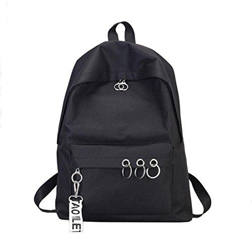 Schultaschen Damen Mode Btruely Mädchen Rucksäcke Frau Elegant Reisetaschen Frau Tasche Hochschulwind Leinwand Rucksack (Schwarz)