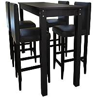 Festnight Conjunto de Bar Mesa Y 4 Sillas Color Negro