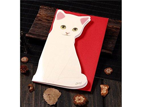 (3D Pop UP Grußkarten 1 pc Katze Form Grußkarte handgemachte Karte Weihnachten Einladung Geburtstag Karte (weiße Katze) Jubiläum Einladung Hochzeit)