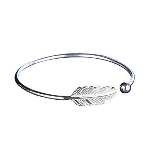 Silver-plating Angel Feather Bracelet Adjustable Open Cuff Bangle Women Jewelry